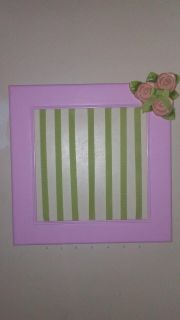 handmade Hair accessory organizer has ribbons for clipping lots of bows and 7 hooks for hanging ribbons headbands etc. Great Christmas gift