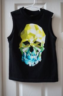 Boys Faded Glory Black Skull Graphic Muscle Tank Size 6/7