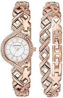 Armitron Women's 75/5412 Swarovski Crystal Accented Watch and Bracelet Set