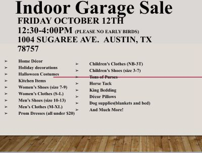 Indoor moving sale this Friday