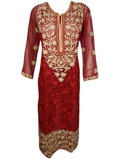 Women's Tunic Red Bohemian Hand Embroidered Kurti M