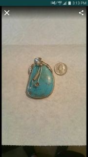 Apache turquoise sterling silver necklace pendant