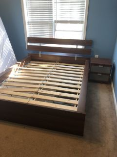 Queen Wood Bed Frame + Nightstand