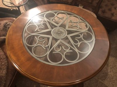Large end table with glass insert