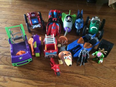 Lot of Batman, Joker, Toy Story, Spider-Man, Captain America, Hulk Cars, Figures and Accessories