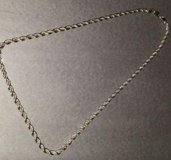 """14k White gold plated 24"""" rope necklace"""