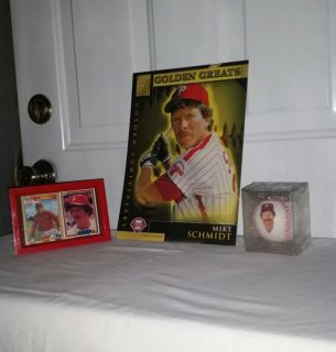 Mike Schmidt group. Ball in sealed case. 12 by 9 Golden Greats Anniversary card, pictures on back. 6.5 by 4.5 frame wh 2 cards.