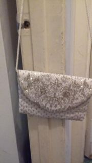 White bag with silver beading