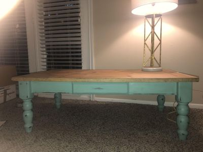 Beautiful, hand painted wooden coffee table