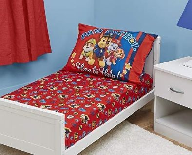 NEW-Paw Patrol Toddler Fitted Sheet and Pillow Case Set, Red