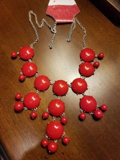 New Bold Red Bubble Necklace