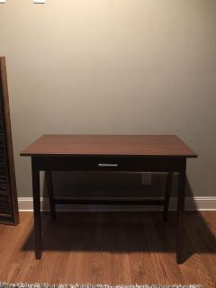 Brown desk with pull out drawer