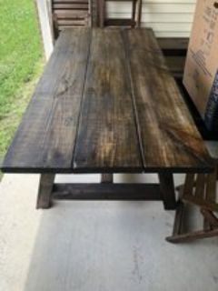 farm style wooden table