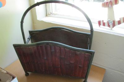 Vintage Heavy Iron Chinoiserie-inspired faux bamboo magazine rack