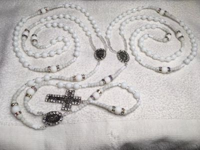 Lasso Wedding Rosary White Crystal Glass Faceted Beads NEW Style Beads Swarovski Accents Bling S...