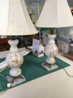 Antique Lamps hand-painted with marble base