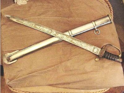 SWORD 1850 UNION OFFICERS REPRODUCTION SWORD, ENGRAVED ...