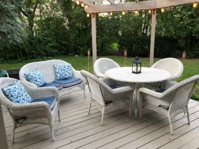 All Weather Wicker Patio Furniture Set. Includes Cushions