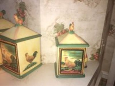 vintage kitchen canister set - rooster/chicken theme