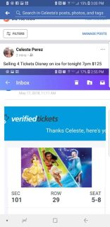 4 tickets Disney on ice may 17 7pm $120