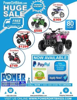 FREE Smart Watch with every purchase Call Power Dirt Bikes today