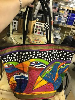 Laurel Birch title bag with birds and tropics colors