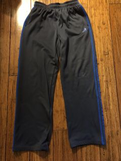 ADIDAS boys XL (18-20) athletic pants. Charcoal gray and blue.