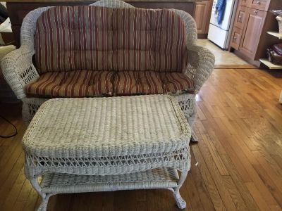 Wicker Small Couch and Coffee Table