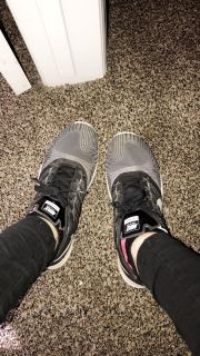 White/Black womans nike running shoes