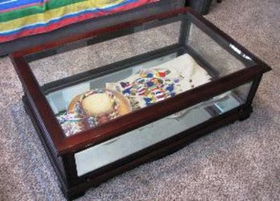 $155, Glass top and mirrored bottom Cherry Wood Coffee Table