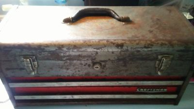 VINTAGE CRAFTSMAN TOOL BOX WITH TOOLS