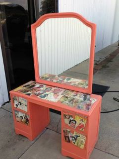 Vintage Corral Magazine Vanity Table