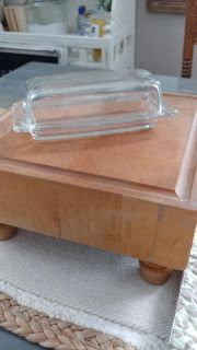 Vintage Clear Pyrex brand butter dish
