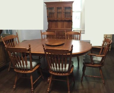 Vintage Tell City Dining Room Set~Table~6 Chairs~Hutch~Hard Rock Maple