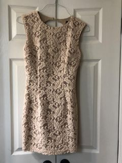 Beautiful lace overlay taupe colored dress - size Small