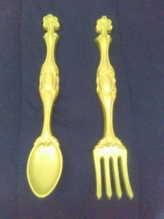spoon and fork wall mountable pair