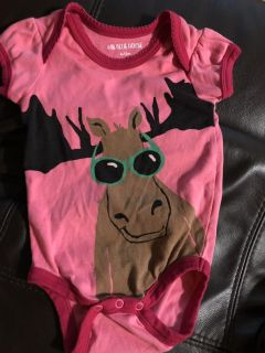 Little Blue House Moose Boutique Brand Playsuit Onesie. Nice Condition. Size 6-12 Months