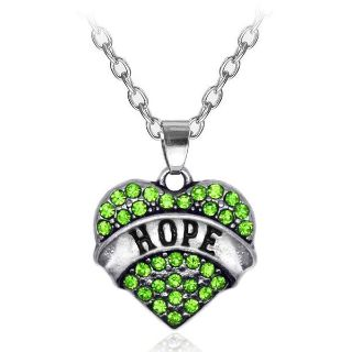 Green Crystal HOPE Heart Necklace