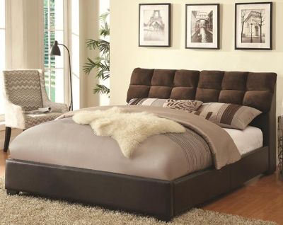 Chocolate Upholstered Queeb Bed With Storage Only  $299