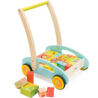Wooden Baby Learning Walker with Forest Theme Blocks by cossy