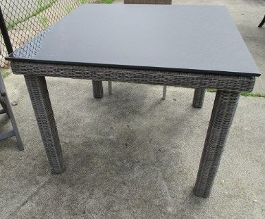 Outdoor Square Table, Slate-Look Top, Merchandise Mart Floor Sample