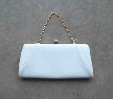 Vintage 50's White Vinyl Clutch Purse