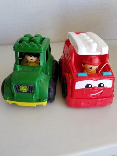 Duplo tractor and fire truck