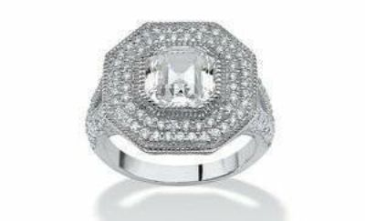***BRAND NEW**3.15 TCW Ascher-Cut CZ Halo Hexagon Ring in Sterling Silver***