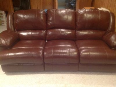 Matching Leather Reclining Sofa and Loveseat