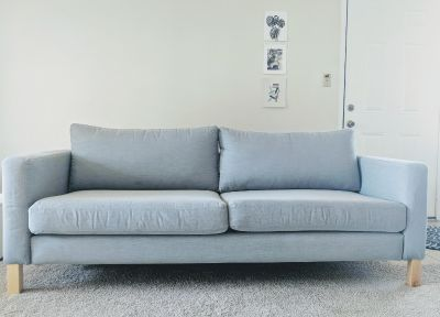 IKEA Karlstad Sofa, two-seater, light grey/gray, gently used