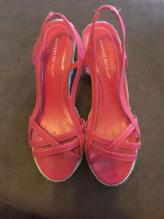 LIKE NEW! Red Strappy Espadrille Wedge Heel Shoes - Size 10 (Montego Bay Club)