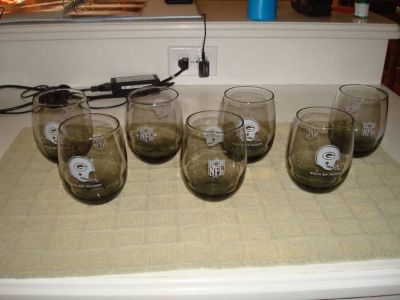 Set of 7 1970's NFL GREEN BAY PACKERS Smoked Glasses LARGE + BONUS 3