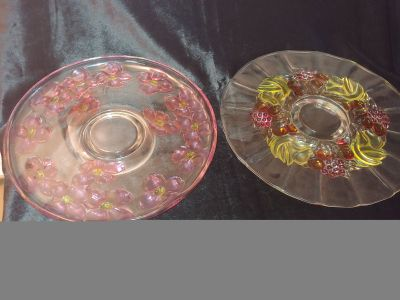 2 Large Vintage Decorated Dessert/Fruit Platters