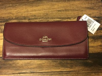Coach Leather Wallet-wine color